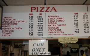 Time-warp? No, these are today's Pizza Prices at Crusty's.