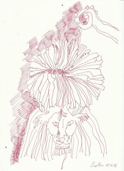 """Self-portrait by Susanne Haun """"Arriving at Dandelions"""" (auf den Löwen gekommen)"""